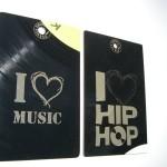 Visitenkarten aus Vinyl: I love Music/HipHop (Foto: Christian Trögele)